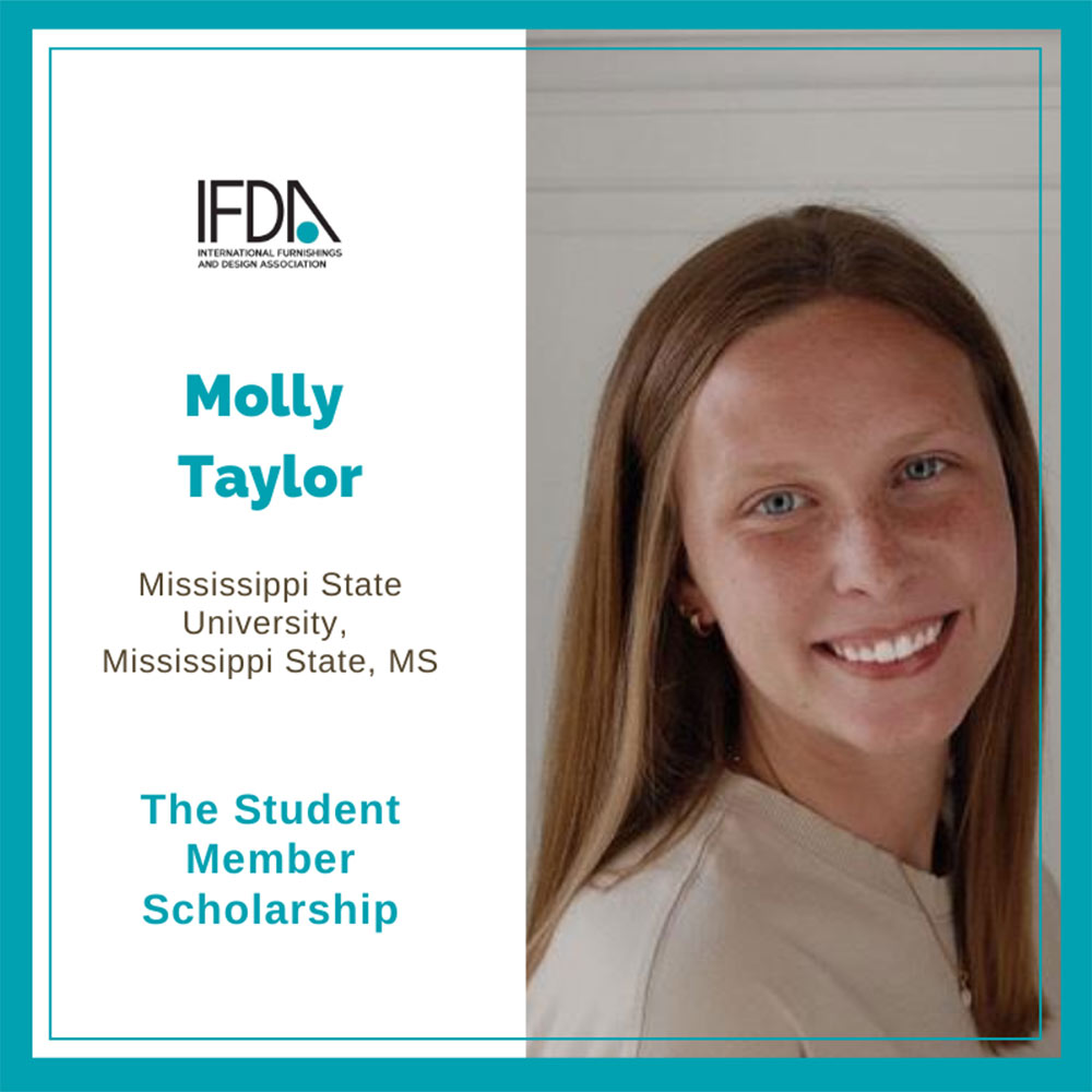 teal box, left: words: IFDA logo, Molly Taylor, Mississippi State University, Mississippi State, MS, The Student Member Scholarship; right: headshot of Molly Taylor