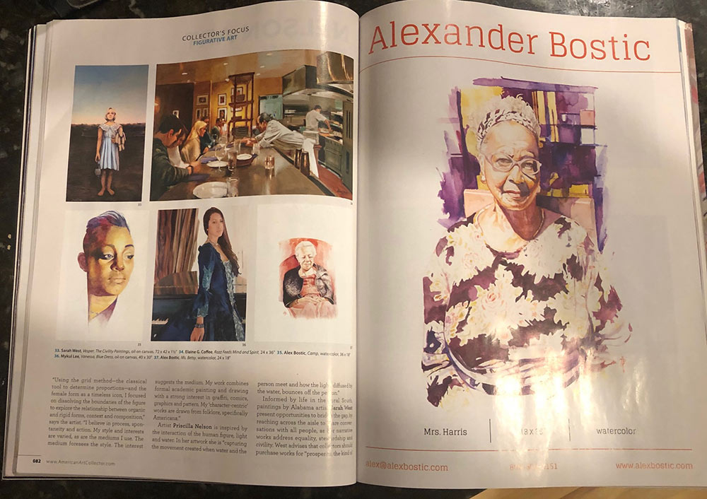 full spread of American Art Collectors magazine featuring Alex Bostic's work
