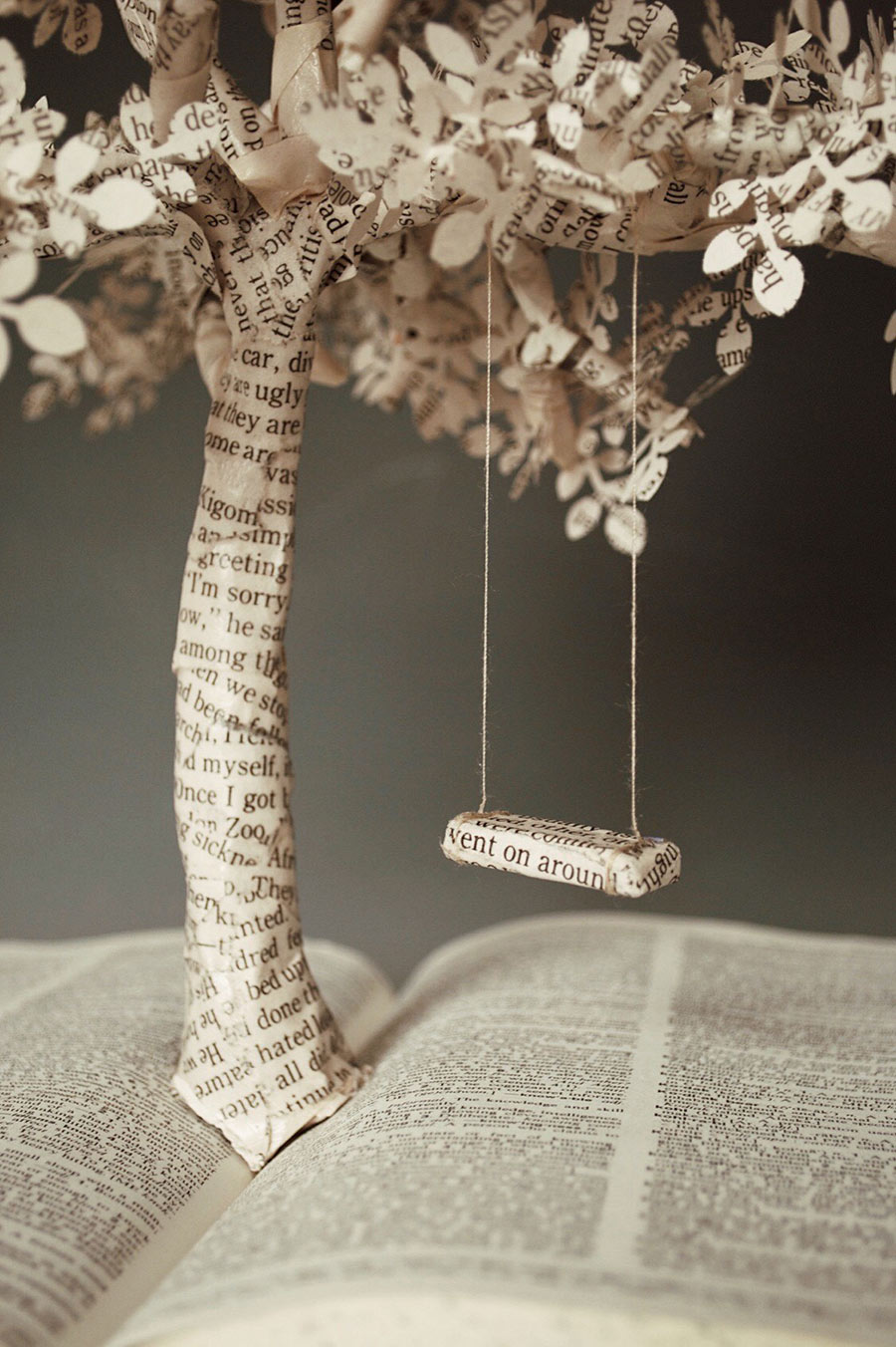 closeup of Hanna Bewley's artwork from above - book with swing made out of pages froma book