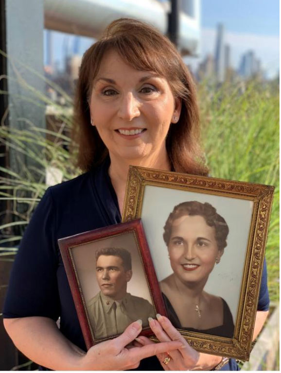 Daria Pizzetta holds photos of her father (left) and mother (right) Photo via Foundations