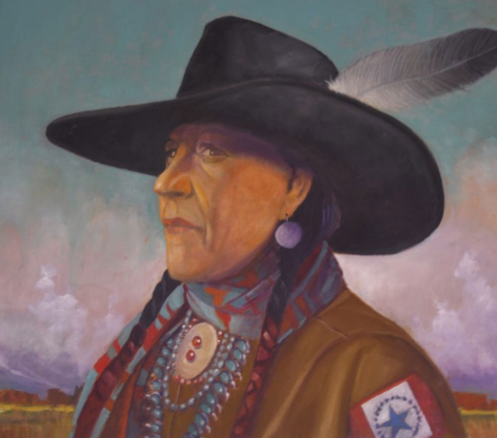 headshot painting of a Choctaw Indian