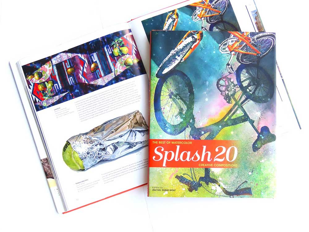 "cover and inside spread of the publication ""Splash 20"" - featuring Mississippi artist Brent Funderburk's watercolor paintings Angelus Vitae"" and ""Oaxaca"""