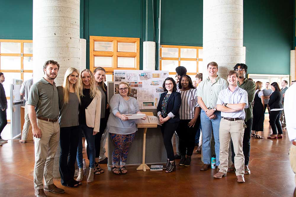 "Pictured are students in the first place-winning group from Mississippi State University College of Architecture, Art and Design's recent Brasfield and Gorrie Student Design Competition. Group members were tasked with developing a proposal for the redesign of MSU's Lois Dowdle Cobb Museum of Archaeology. From left to right, they include Tyler Letson, Heather Gillich, Mary Moore, Olivia Duhe, Shelby Jaco, Sydney White, Gaybrail ""Gabby"" Jones, Clayton ""Clay"" Crossman, John Douglas ""JD"" Staten and Jordan Smith"