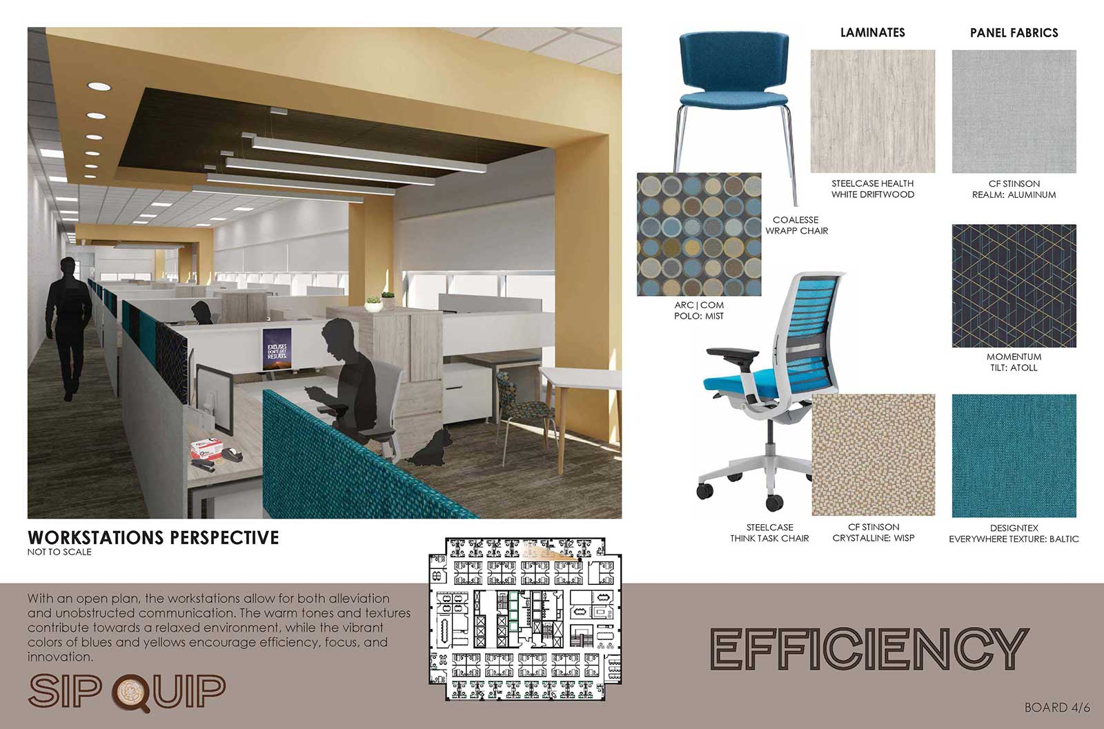 2019 Barefield Workplace Solutions Steelcase Project first place winning project board, Ashley Wyatt